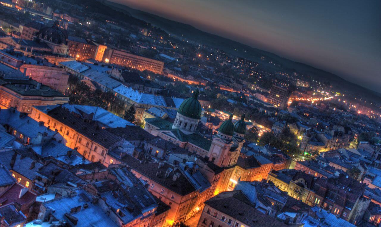 Ukraina nocą